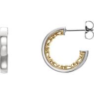 Vintage Style Hoop Earrings in 14k Two-Tone Gold