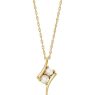 Opal Two-Stone Necklace in 14k Gold