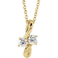 Diamond Two-Stone Bypass Necklace 14k Gold