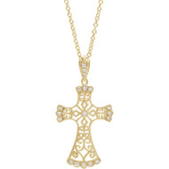 Diamond Vintage Style Cross Necklace in 14k Yellow Gold