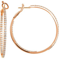 14k Rose Gold Diamond Inside Outside Hoop Earrings