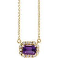 Amethyst and Diamond Halo Necklace in 14k Yellow Gold