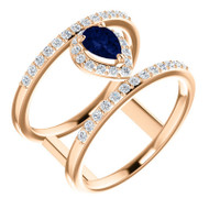 Blue Sapphire and Diamond Open Space Ring in 14K Rose Gold