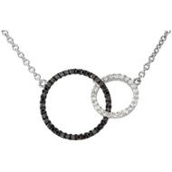 Black and White Interlocking Circle Necklace in 14K White Gold