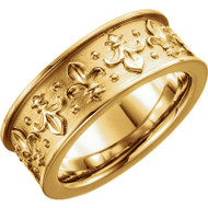 7.75 MM Vintage Fleur de Lis Wedding Band in 18k Yellow Gold