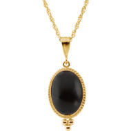 Oval Cabochon Onyx Necklace in 14K Yellow Gold