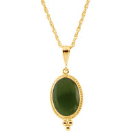 Oval Cabochon Nephrite Jade Necklace in 14K Yellow Gold