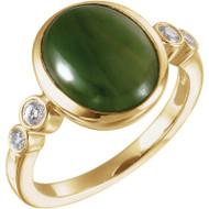 Nephrite Jade and Diamond Ring in 14K Yellow Gold