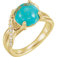 Kingman Turquoise and Diamond Bypass Ring in 14K Yellow Gold