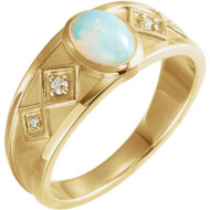 Ethiopian Opal and Diamond Ring in 14K Yellow Gold