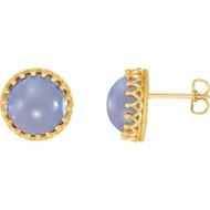 14K Yellow Gold Blue Chalcedony Crown Stud Earrings