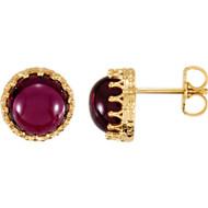 14K Yellow Gold Round Rhodolite Garnet Crown Stud Earrings