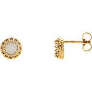 14K Yellow Gold Round Opal Crown Stud Earrings