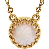 14k Yellow Gold Round Opal Crown Necklace in 14k Yellow Gold