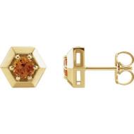 Geometric Citrine Stud Earrings in 14k Yellow Gold