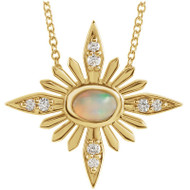 Ethiopian Opal and Diamond Celestial Necklace in 14k Yellow Gold