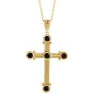 Onyx Cross Necklace in 14k Yellow Gold