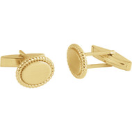Rope Border Oval Cufflinks