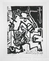 Mark T Smith Fallen Rider Signed Linocut Block Print
