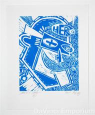 Mark T Smith Hero Signed Linocut Block Print