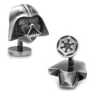 Antiqued Silver 3D Darth Vader Head Cufflinks