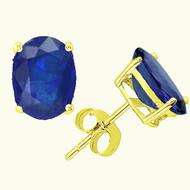 14k Gold Oval Blue Sapphire Stud Earrings