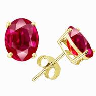 14K Gold Oval Ruby Stud Earrings