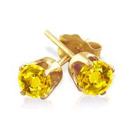 14k Gold Yellow Sapphire Stud Earrings