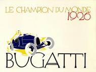 Bugatti Le Champion du Monde 1926 Lithograph