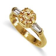 18K Yellow Gold Champagne Diamond Ring