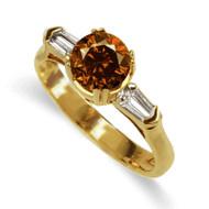 18K Yellow or White Gold Cognac Diamond Ring