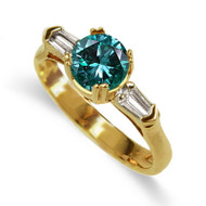 18K Yellow or White Gold Blue Diamond Ring