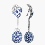 18K White Gold Diamond and Blue Sapphire Dangle Earrings