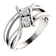 Platinum 1/4 Carat Diamond Two Stone Solitaire Ring