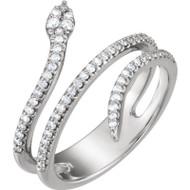 Platinum Diamond Snake Ring