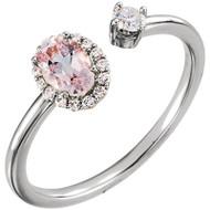 Platinum Morganite and Diamond Halo Open Ring