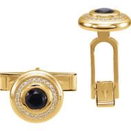 14K Gold Onyx and Diamonds Cufflinks