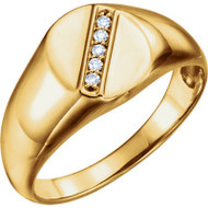 14k Gold Diamond Men's Oval Signet Ring