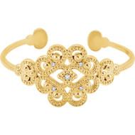 14K Yellow Gold Diamond Granulated Open Bangle