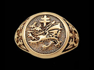14K Gold Vlad Dracula's Order of the Dragon Signet Ring