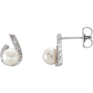 14K White Gold Freshwater Pearl and Diamond Stud Earrings