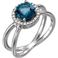 Platinum London Blue Topaz and Diamond Halo Open Ring