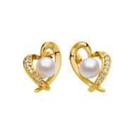 14K Yellow Gold Akoya Cultured Pearls and Diamond Heart Earrings