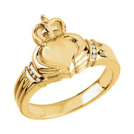 14K Yellow Gold Ladies Claddagh Diamond Ring