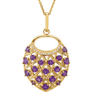 14K Yellow Gold Amethyst and Diamond Nest Necklace