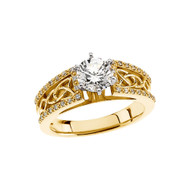 14K Yellow Gold Celtic Knot Diamond Engagement Ring