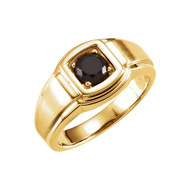 14K Yellow Gold Black Onyx Men's Ring