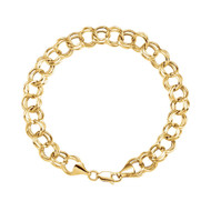 Double Link Charm Bracelet 5.7 MM 14K Yellow Gold