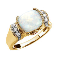 14K Yellow Gold Opal, Pink Tourmaline and Diamond Ring