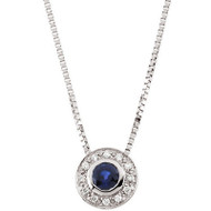14k White Gold Blue Sapphire and Diamond Necklace